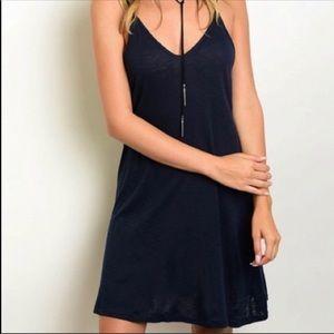Dresses - Crisscross Detailed Back Navy Blue Dress